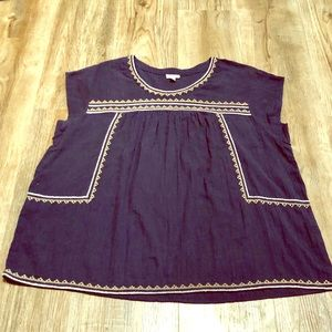 Garnet Hill Navy Embroidered Blouse
